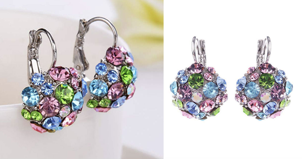 Zircon Silver Tone Eardrop Leverback Earrings ONLY $5.90 Shipped