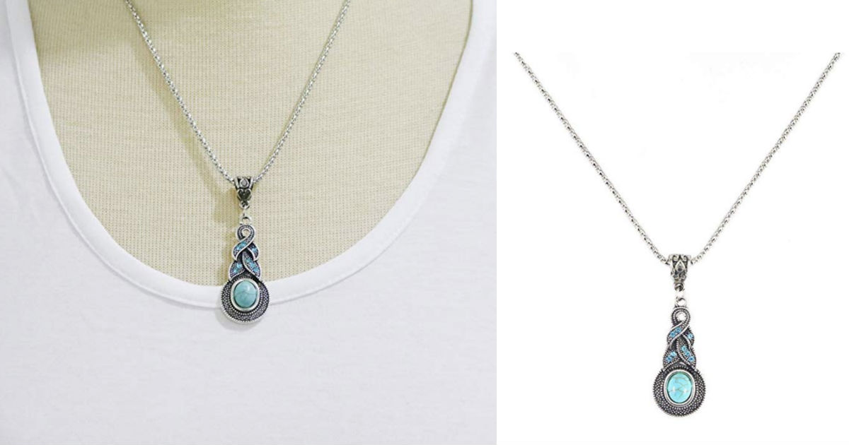 Retro Blue Crystal Pendant Nec...