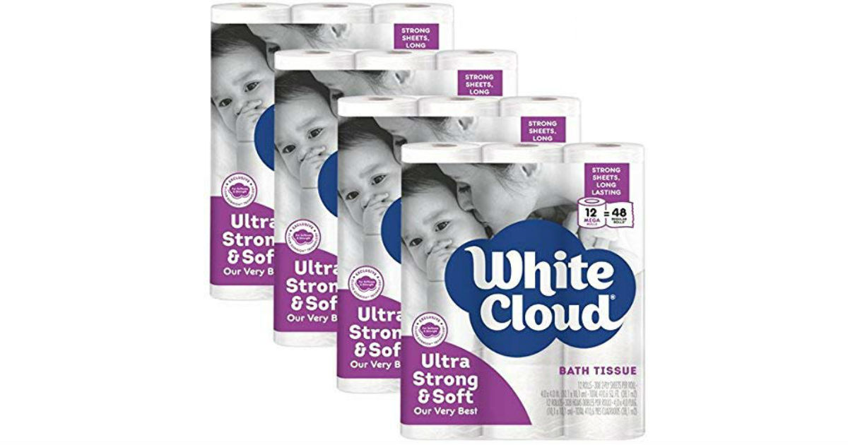 White Cloud Strong & Soft Mega Roll Toilet Paper 48-Pk ONLY $32