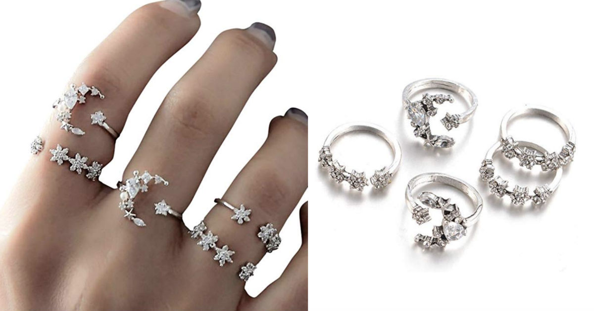 Bohemian Knuckle Rings Set 5-P...