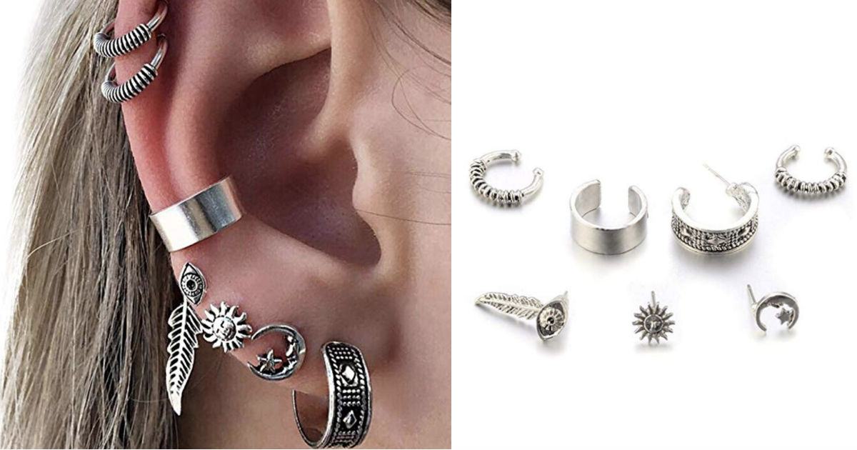 Retro Silver Ear Clip Stud Ear...