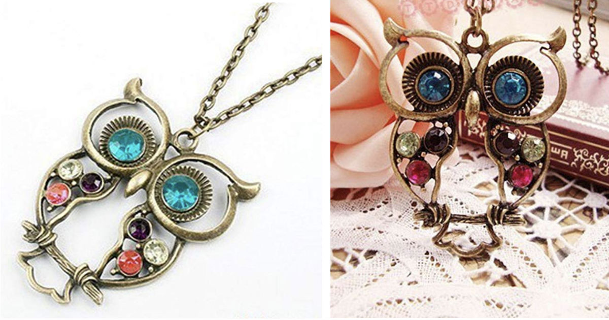 Owl Pendant Rhinestone Necklace ONLY $3.36 Shipped