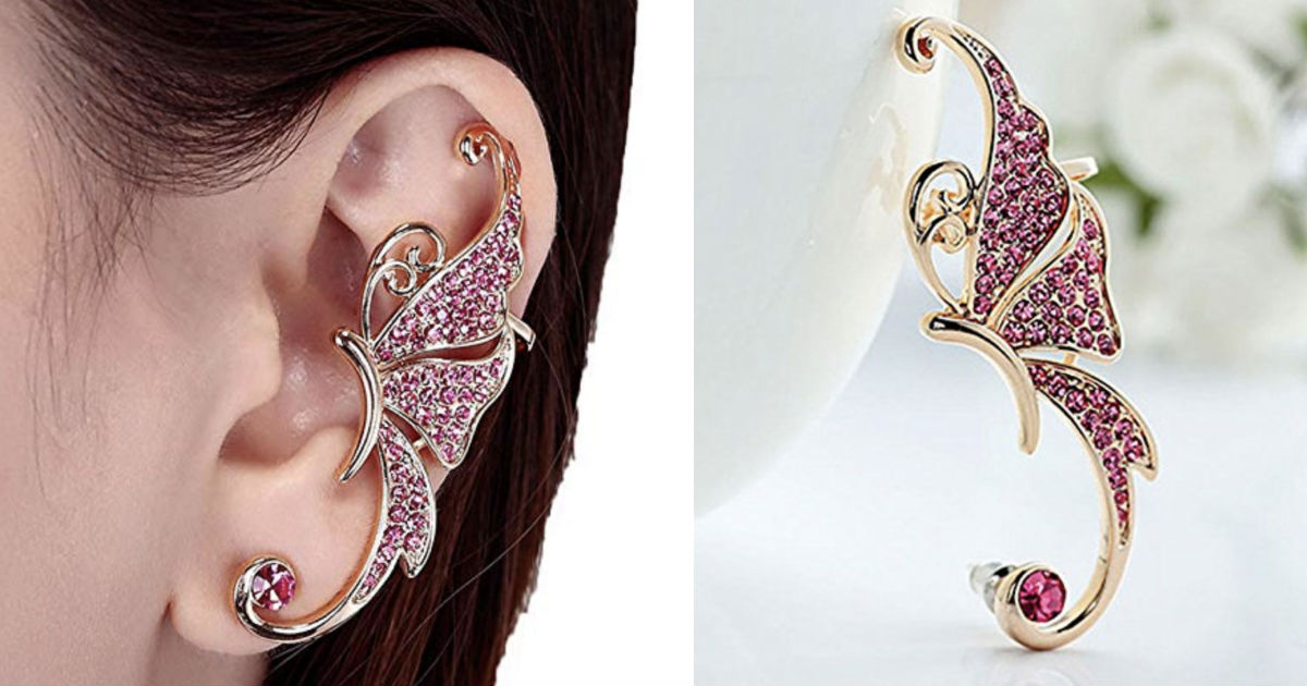 Crystal Butterfly Wings Ear Clip Clamp Earring ONLY $3 Shipped