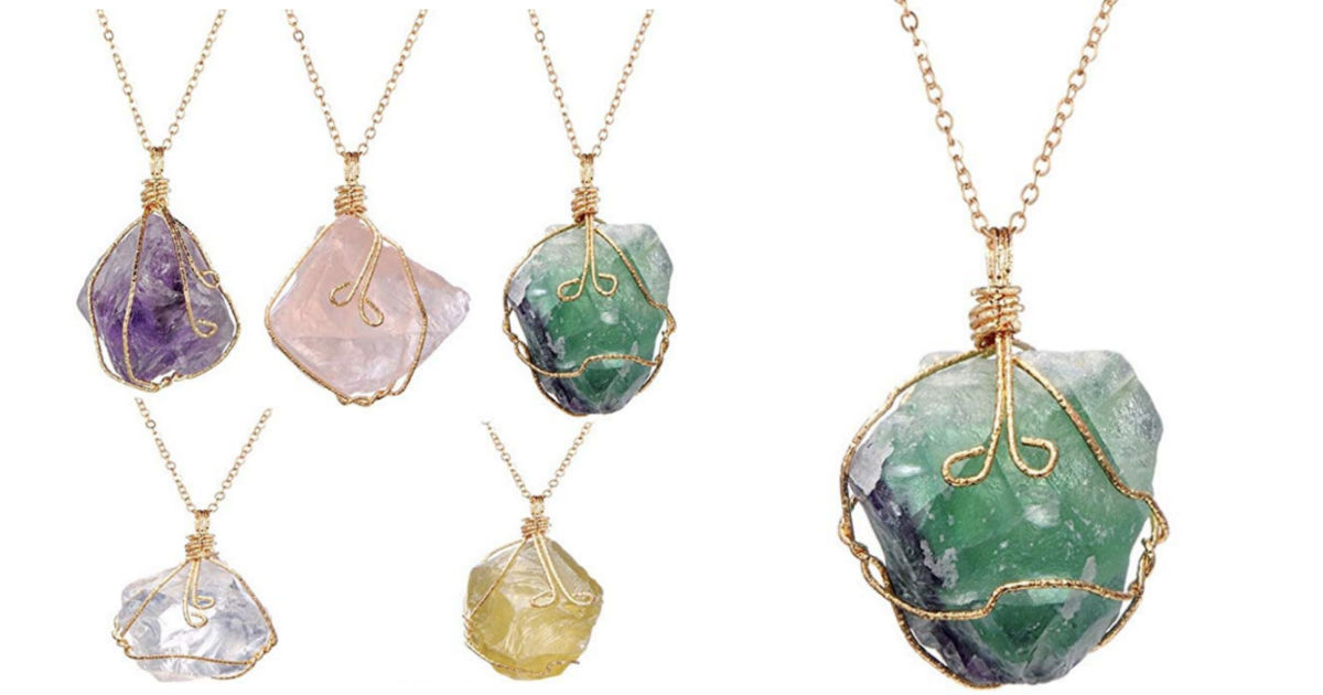Natural Crystal Chakra Rock Ne...