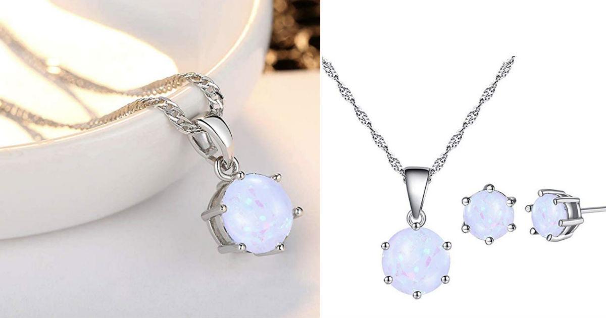 Elegant Faux Opal Pendant Chai...