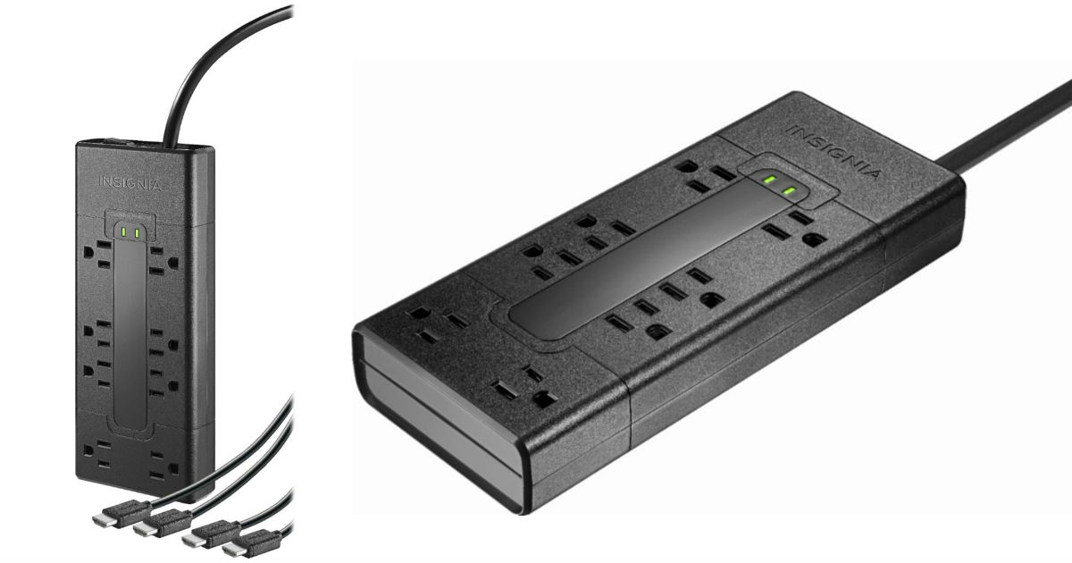 Insignia 8-Outlet Surge Protector w/ Two HDMI Cables ONLY $19.99