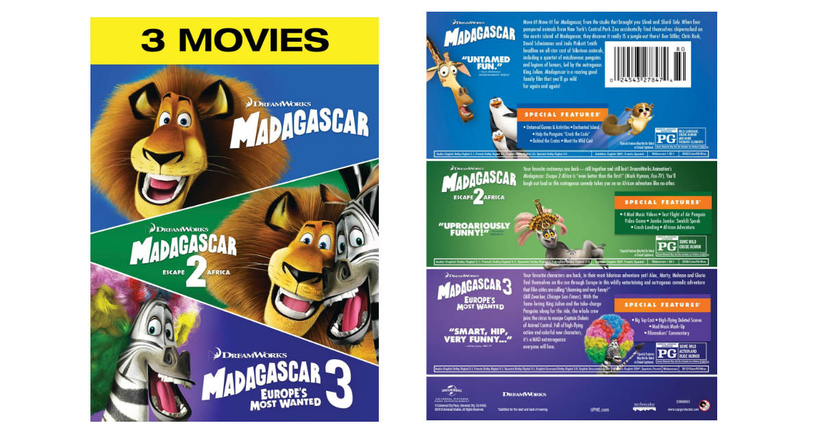 Madagascar 1, 2, & 3 on DVD ONLY $12.99 Shipped (Reg. $23)