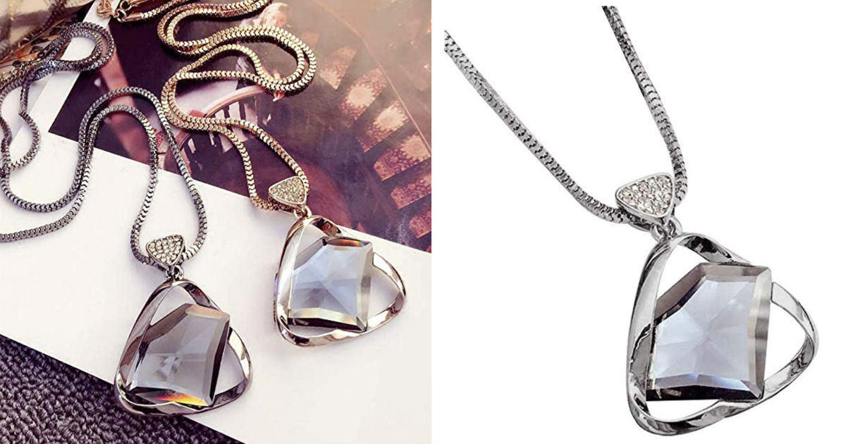 Rhinestone Triangle Pendant Necklace ONLY $3.25 Shipped