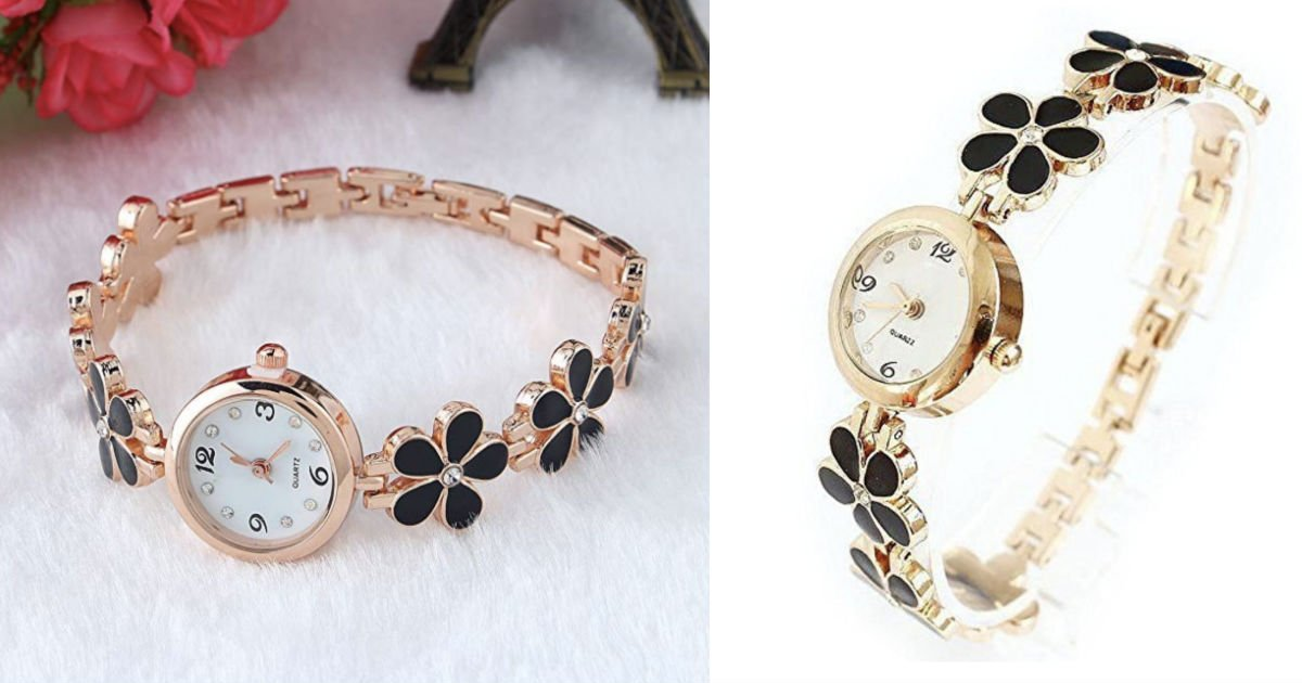 Flower Band Watch Rose Golden.