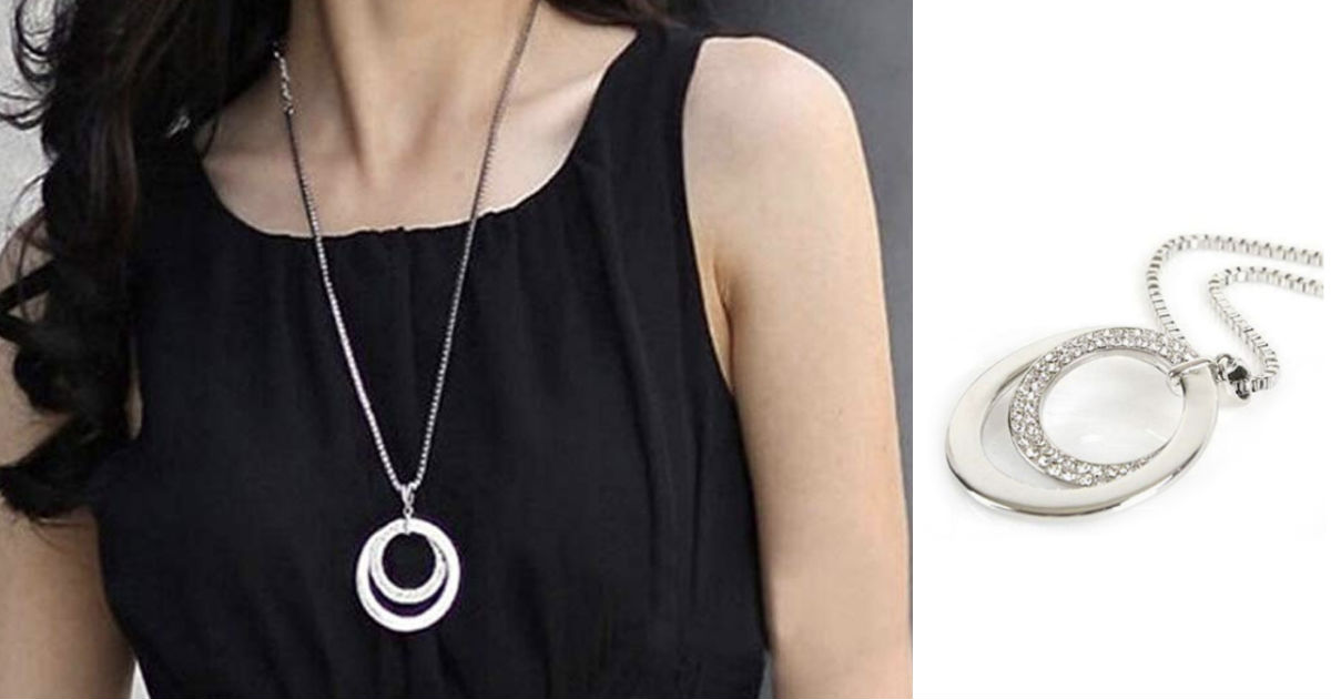 Silver Round Ring Plated Pendant Necklace ONLY $4.20 Shipped