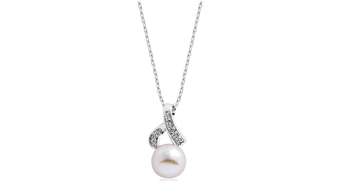 Sterling Silver Pearl CZ Necklace ONLY $2 Shipped