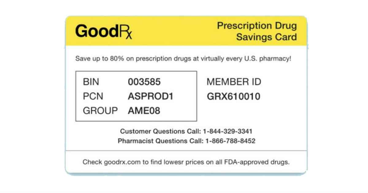 FREE GoodRX Discount Card...
