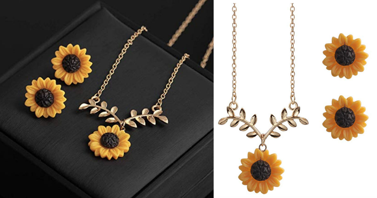 Sunflower Earrings Necklace Je...