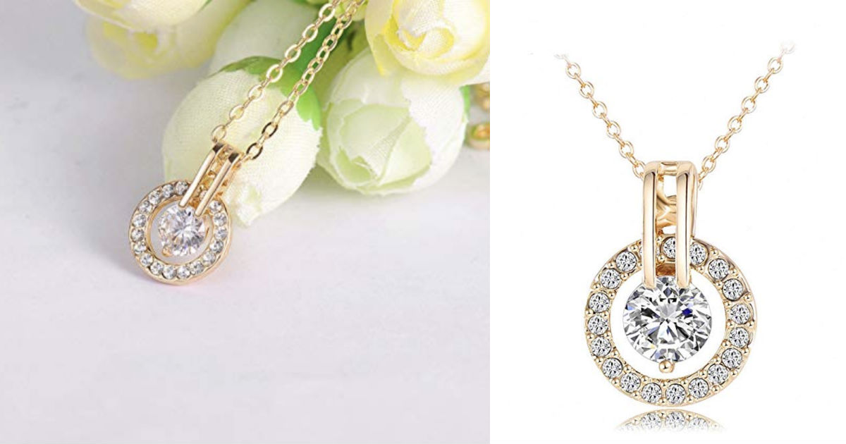 Austrian Crystal Circle Necklace Pendant ONLY $8.45 Shipped