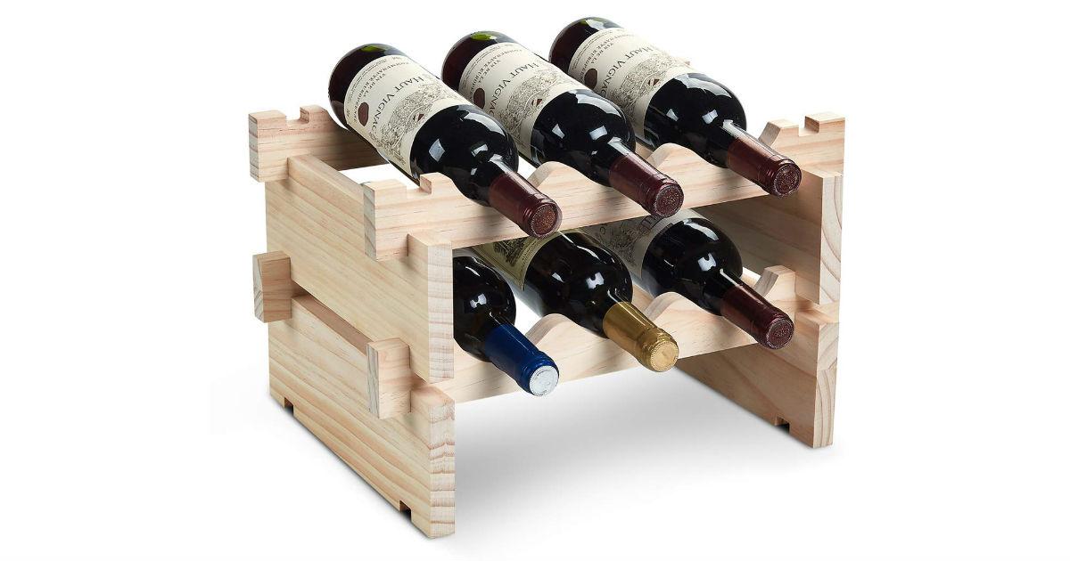 6-Bottle Wood Wine Rack ONLY $19.49 (Reg. $38)