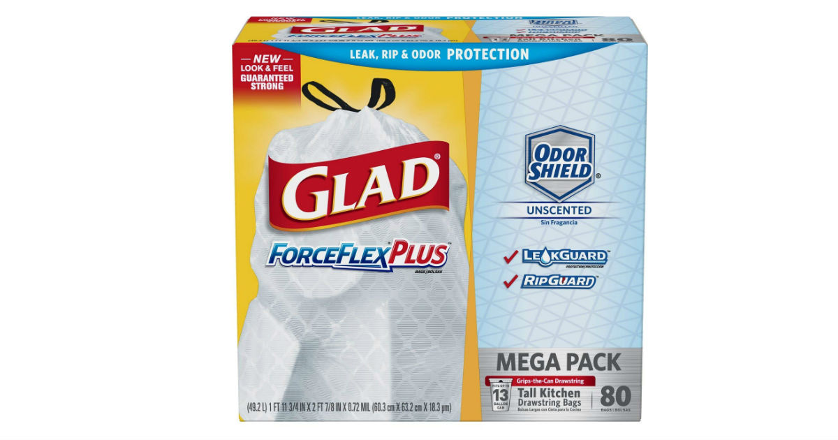 Glad ForceFlexPlus Tall Kitchen Trash Bags 80-Count Only $8.09