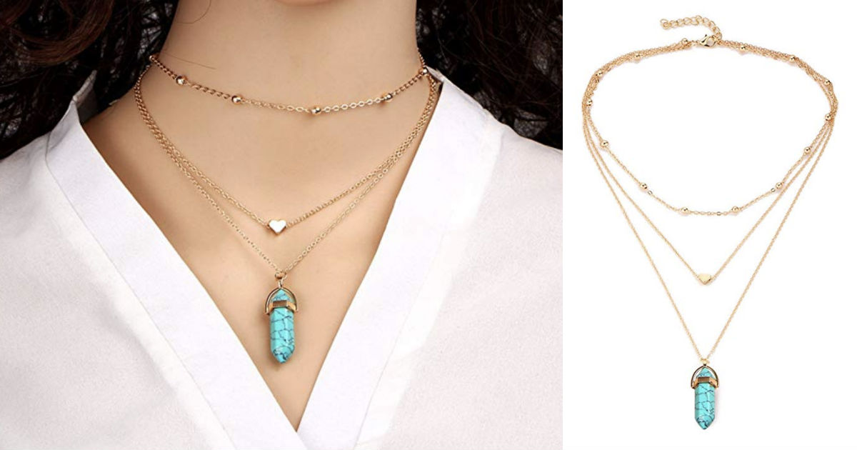Multi Layer Necklace with Rhombus Pendant ONLY $3.24 Shipped