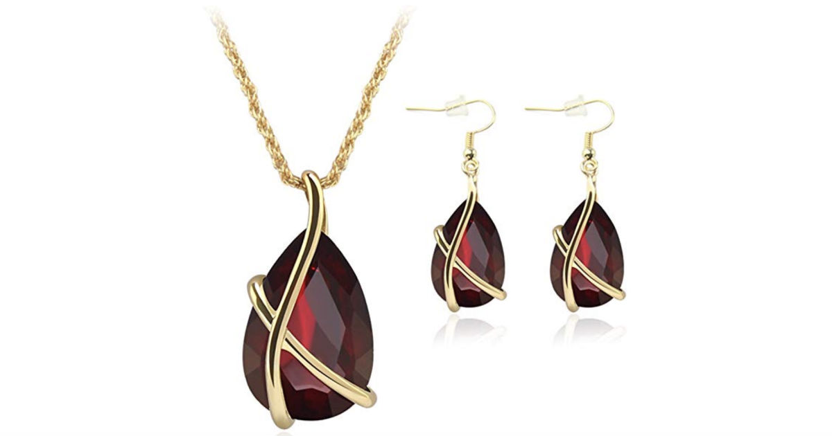 Waterdrop Design Faux Gemstone Necklace ONLY $4.14 Shipped