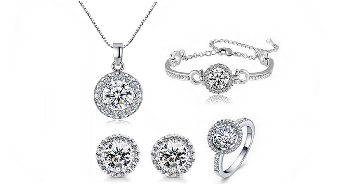 Fashion Crystal Earrings Necklace Set 4-Pcs ONLY $15.89 Shipped
