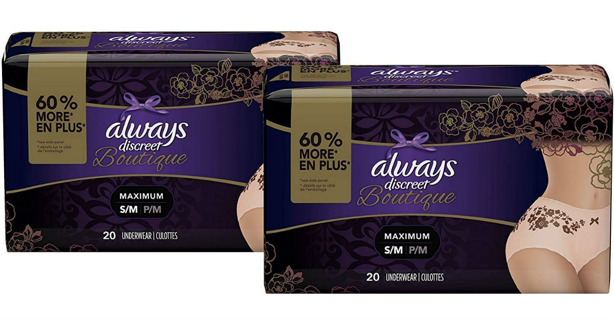 Always Discreet Boutique Incontinence  & Postpartum Underwear ONLY $31.99