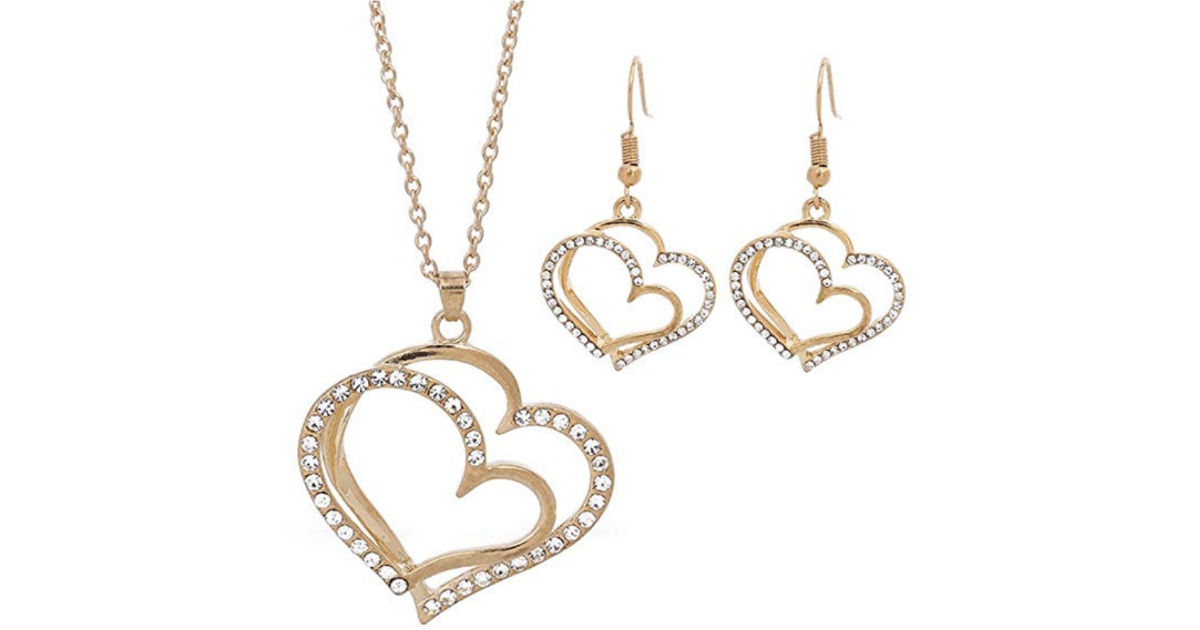 Dual Love Heart Hook Necklace Set Gift ONLY $3.23 Shipped