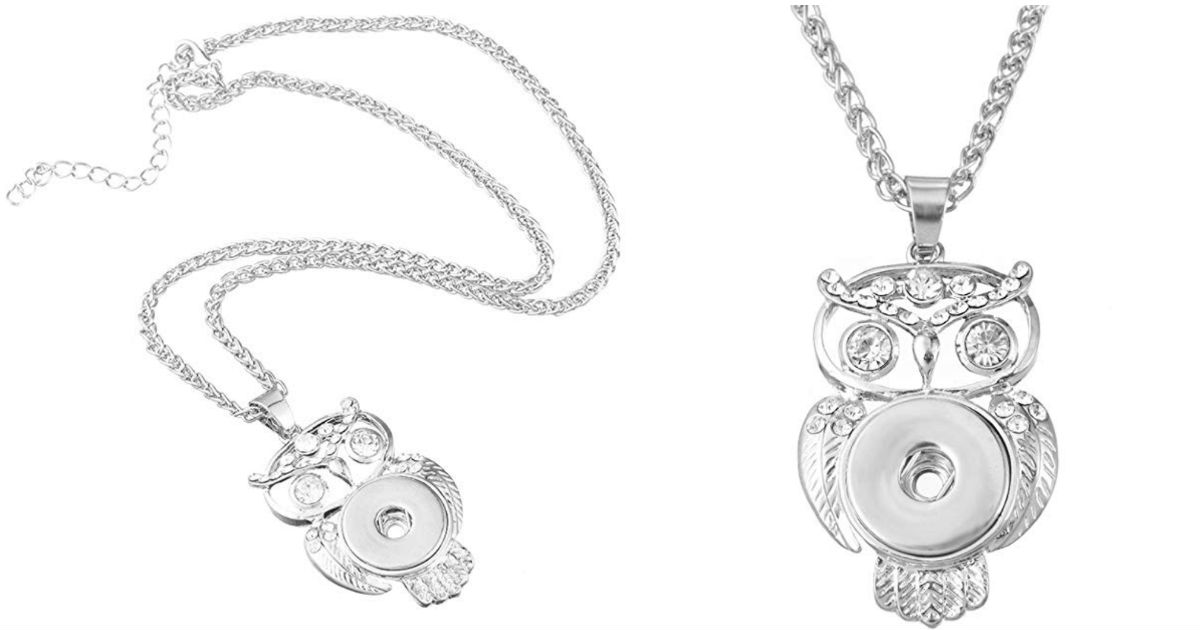 Owl Shaped Necklace Snap Butto...