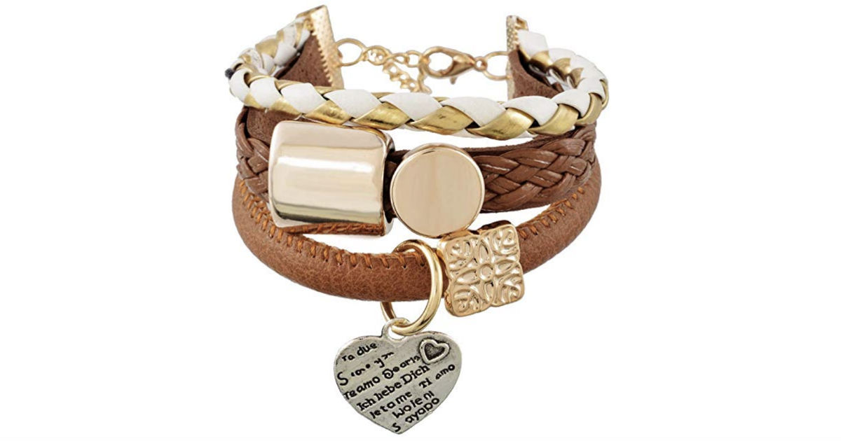 Multilayer Heart Charm Bangle Bracelet ONLY $1.51 Shipped