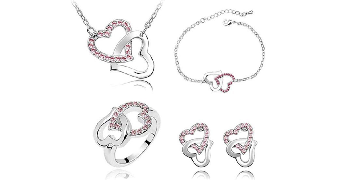 Heart-Shaped Elegant Women Jewelry Set ONLY $5.97 Shipped