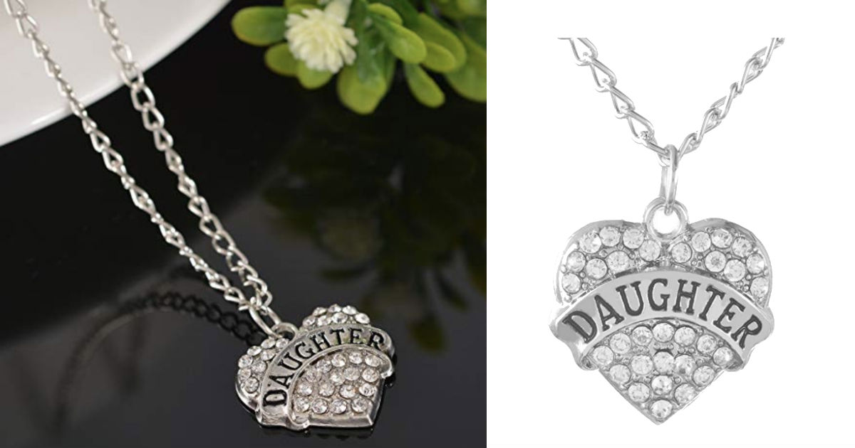 Heart Shape Rhinestone Pendant Necklace ONLY $1 Shipped
