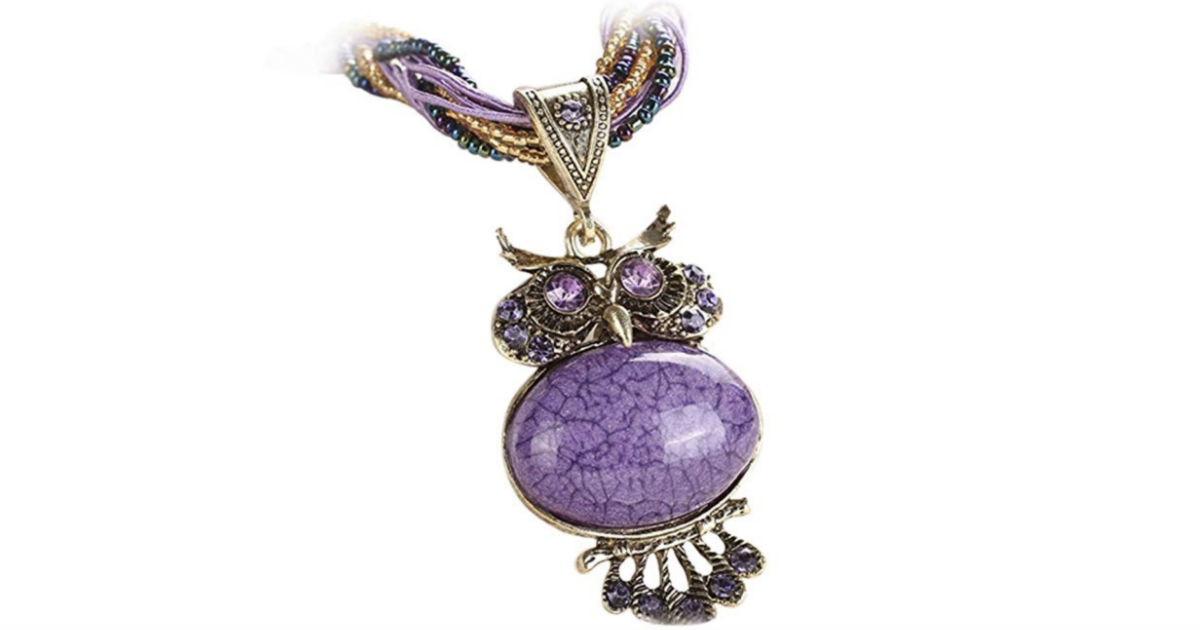 Owl Vintage Glass Cabochon Bohemian Necklace ONLY $4 Shipped