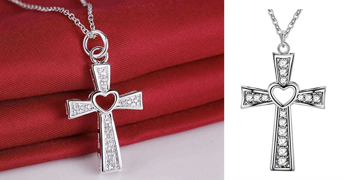 Cross Necklace Hollow Heart ONLY $3 Shipped