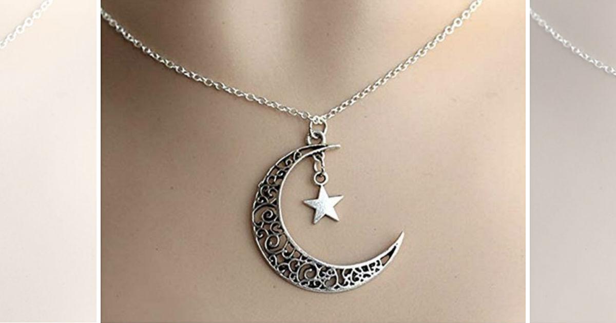 Crescent Moon Necklace with St...