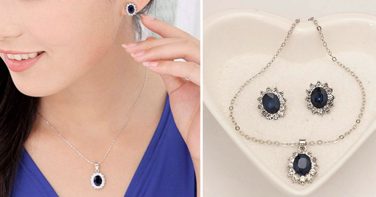 Sapphire Royal Princess Earrings Necklace Set ONLY $6.99 Shipped