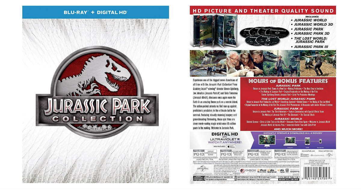 Jurassic Park Collection Blu-ray Box Set ONLY $19.99 (Reg. $45)