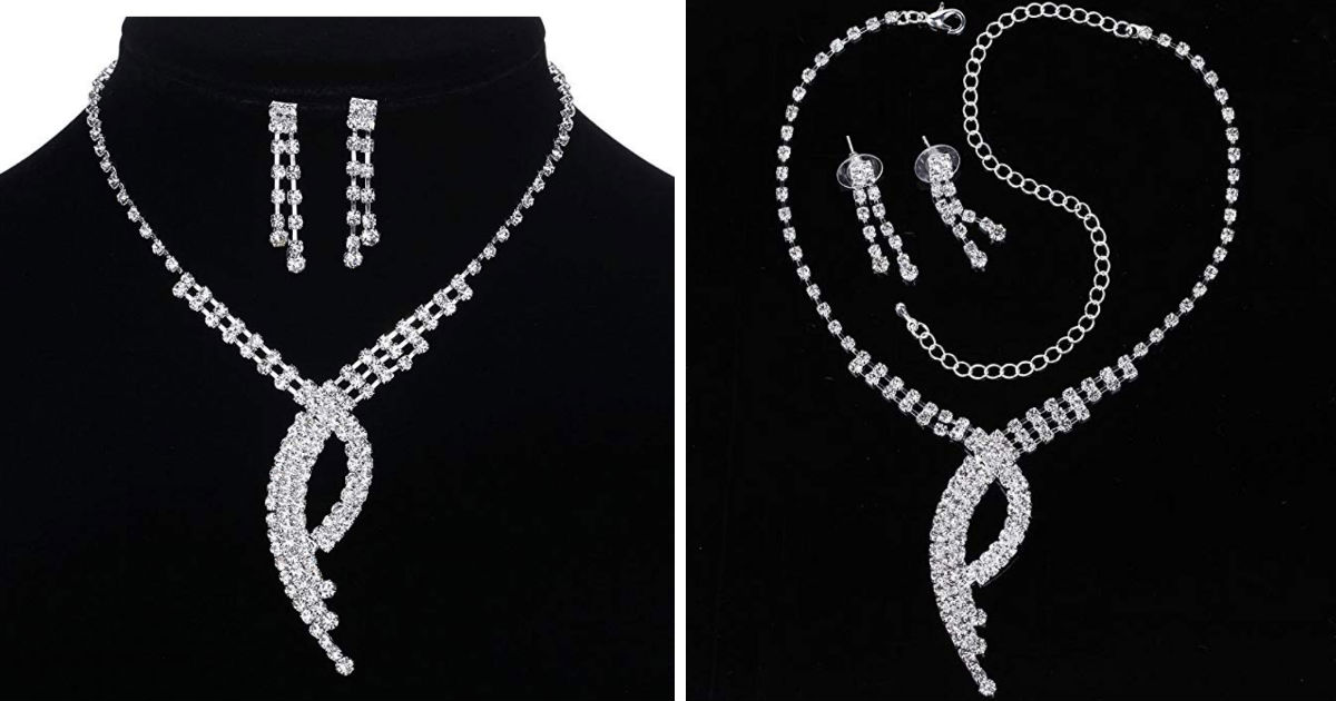 Bridal Necklace and Earrings Set ONLY $4.99 Shipped