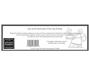 Corner Bakery Cafe - Coupon for a FREE Cup of Soup with Purchase - Printable Coupons