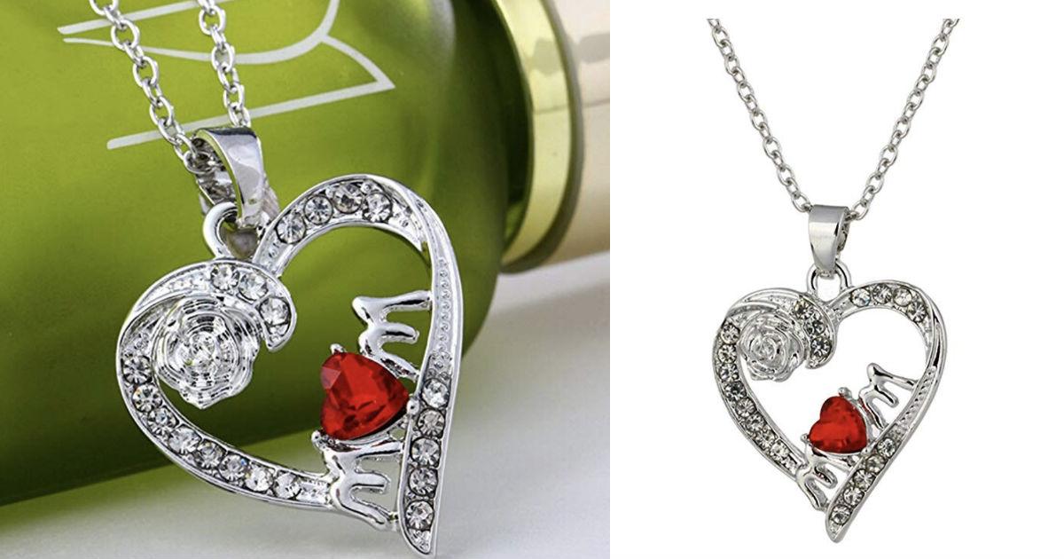 Mom Crystal Heart Pendant Neck...