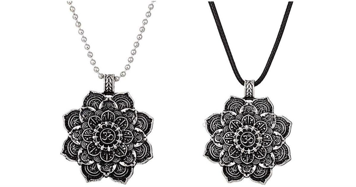 Lotus Mandala Pendant Necklace...