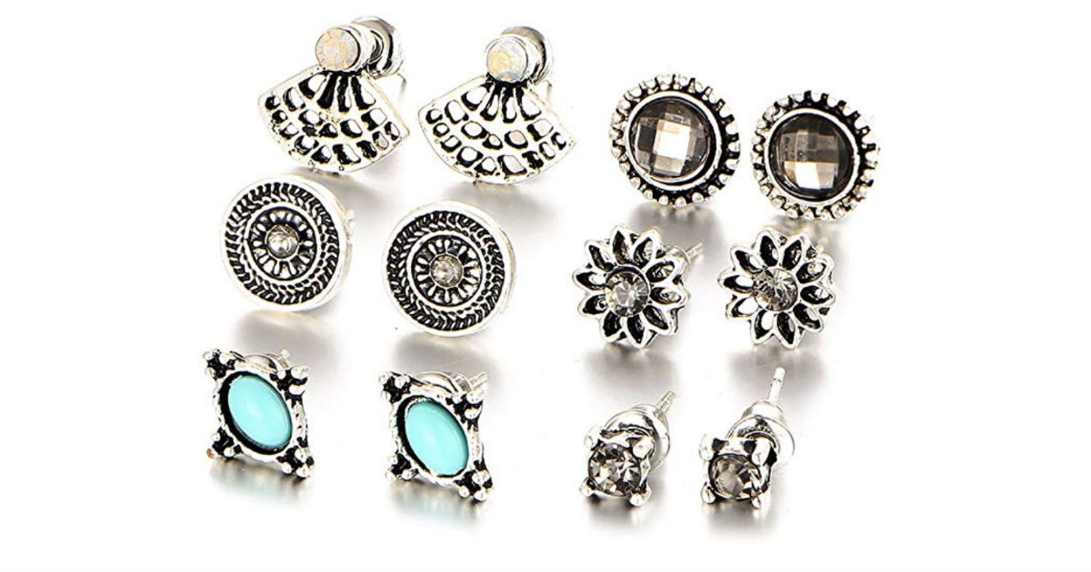 6 Pairs Retro Rhinestone Turquoise Earring Set ONLY $3 Shipped