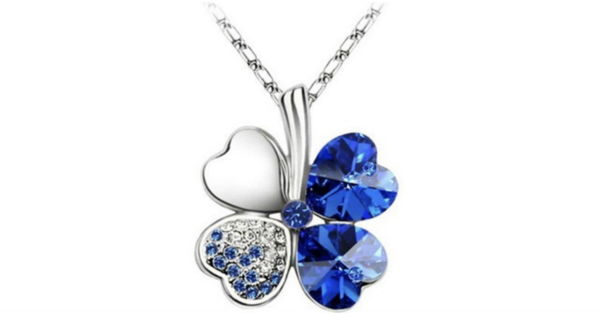 Lucky Four Leaf Clover Pendant Necklace ONLY $4 Shipped