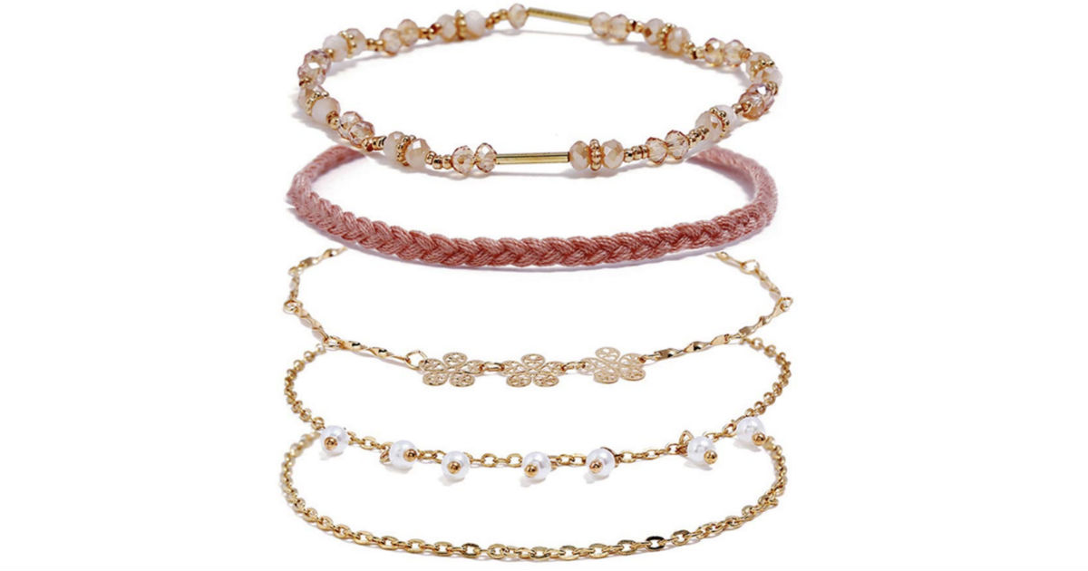 Flower Pearl Bracelet 5-Piece Set ONLY $4 Shipped