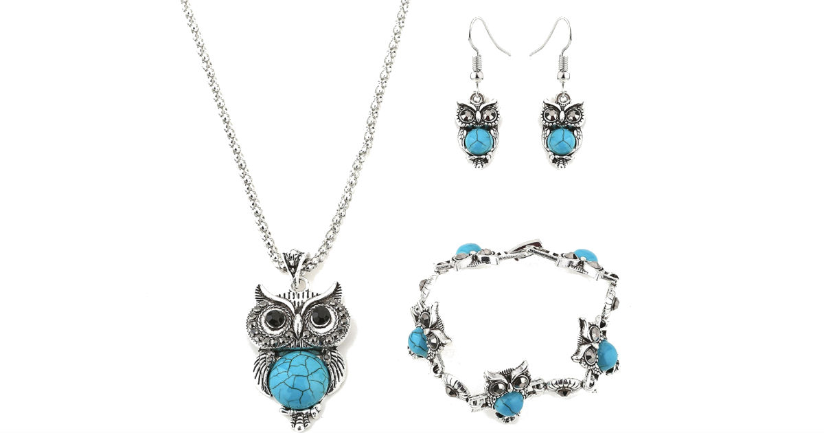 Retro Style Owl Turquoise Jewelry Set ONLY $2.88 Shipped