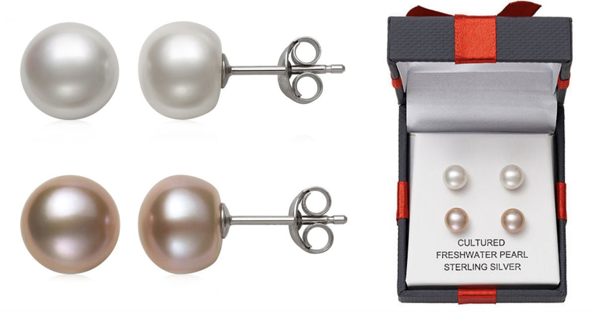 Pearl Stud Earrings 2-Piece Se...