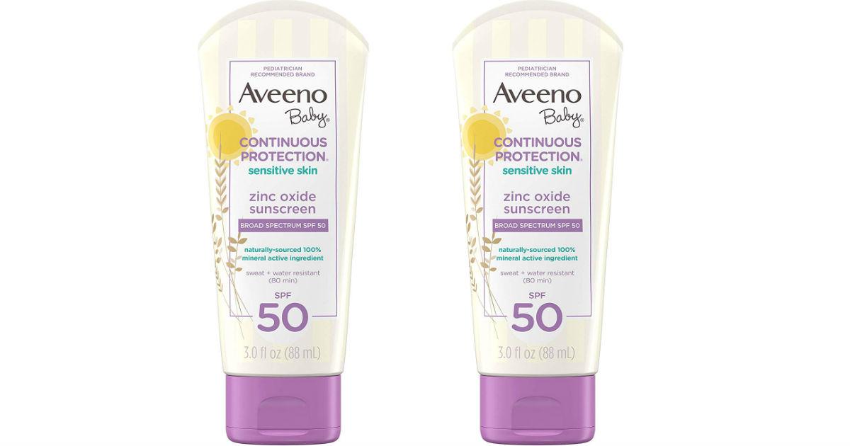 Aveeno Baby Sensitive Skin Sunscreen Lotion 3-Pk ONLY $6.98 (Reg $12)