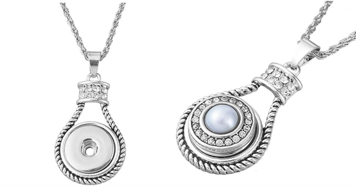 Clear Rhinestone Pendant Necklace Snap Button ONLY $1.51 Shipped