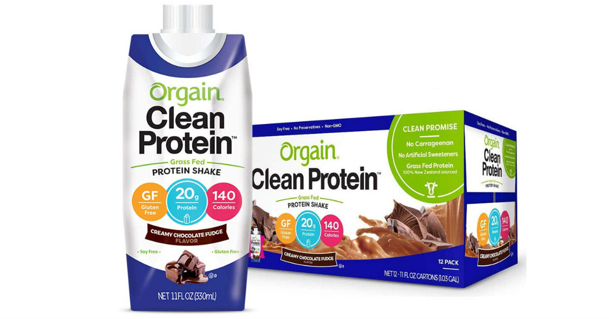 Orgain Grass Fed Clean Protein Shake 12-Pk ONLY $11.87 Shipped