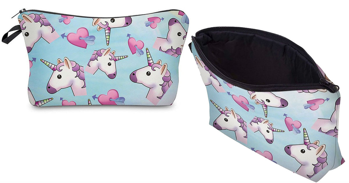 Unicorn Printed Makeup Pouch C...