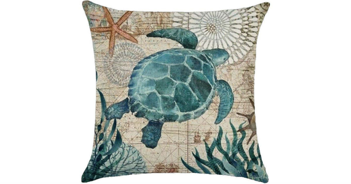 Sea Shell Whale Turtle Throw Pillow Case ONLY $3.19 Shipped