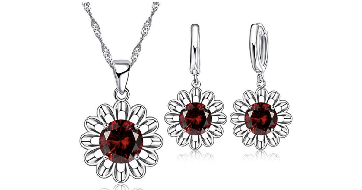 Romantic Zircon Sun Flower Jewelry Set ONLY $6.99