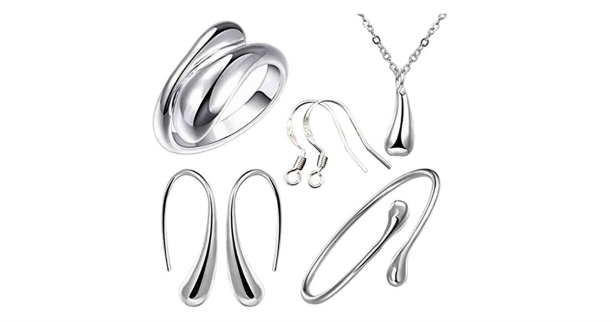 925 Sterling Silver Jewelry Set 4-Piece ONLY $2.43 Shipped